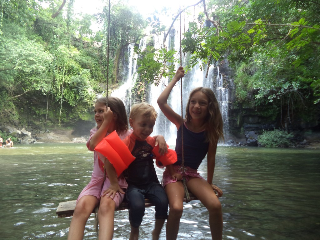 Having fun at Llanos del Cortes Waterfall.